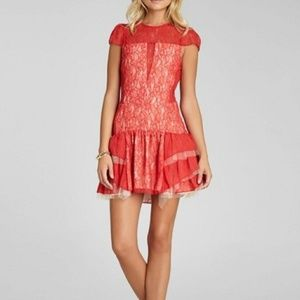 BCBG Red Lace Cocktail Dress